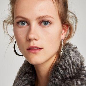 Zara Silver hoop earrings with rhinestones